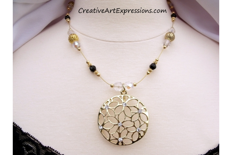 Gold Black & Crystal Necklace Jewelry Design