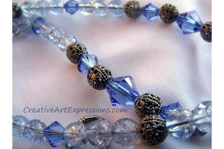 Blue & Antique Silver Necklace Jewelry Design