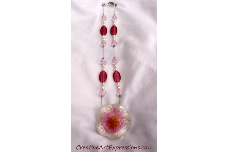 Creative Art Expressions Handmade Pink & White Necklace Jewelry Design