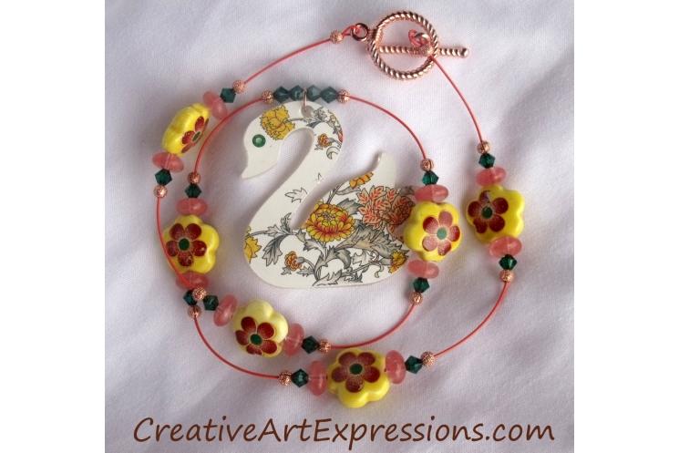 Creative Art Expressions Handmade Summer Swan Necklace