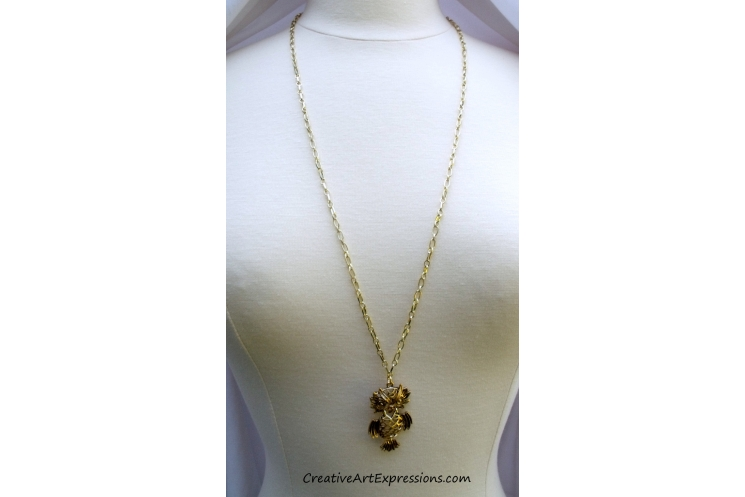 Creative Art Expressions Handmade Gold Owl Necklace
