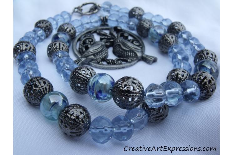 Handmade Blue Bird Necklace