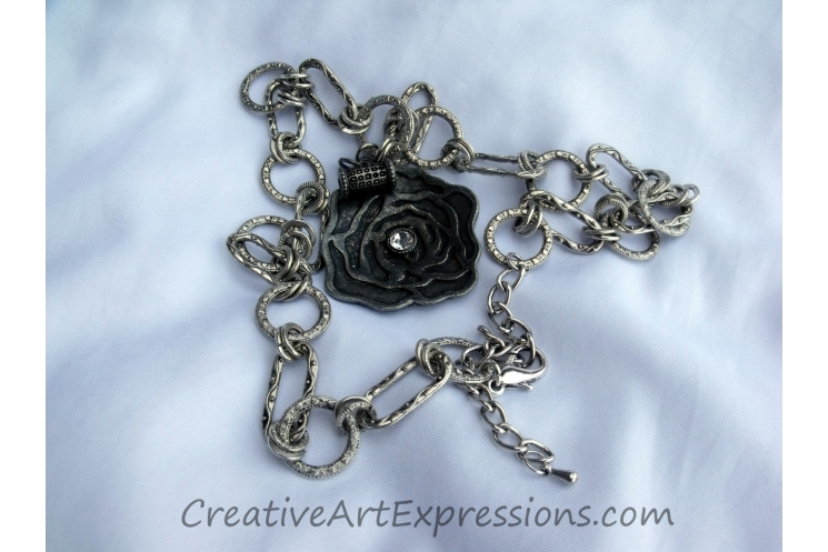 Creative Art Expressions Handmade Silver Rose Necklace