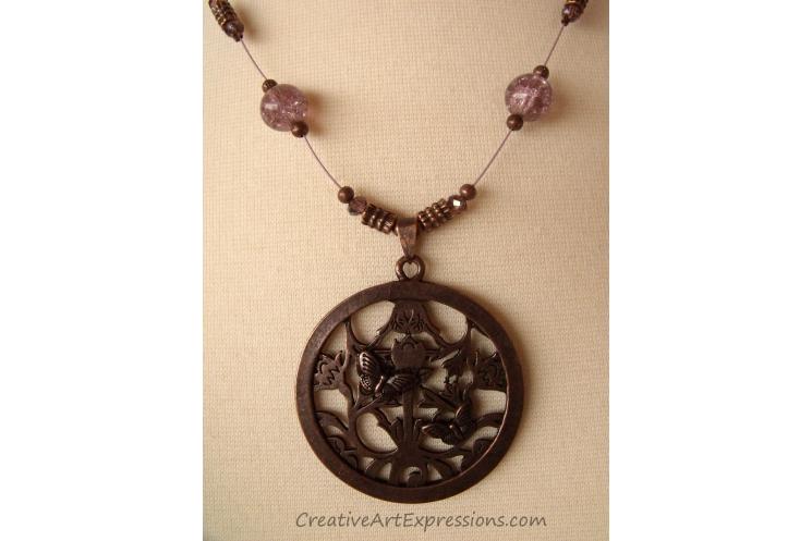 Antique Bronze & Mauve Butterfly Necklace Jewelry Design