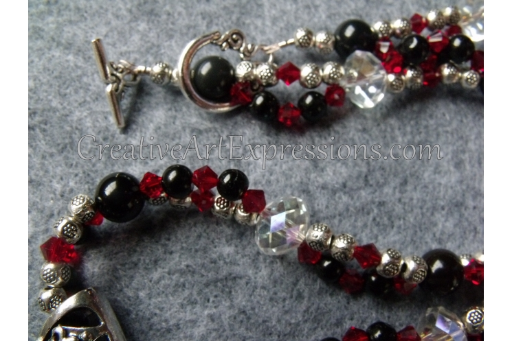 Red Black Silver Crystal Necklace Jewelry