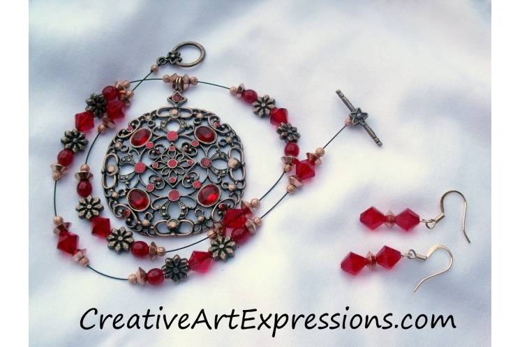 Creative Art Expressions Handmade Red & Antique Copper Necklace & Earring Set Je