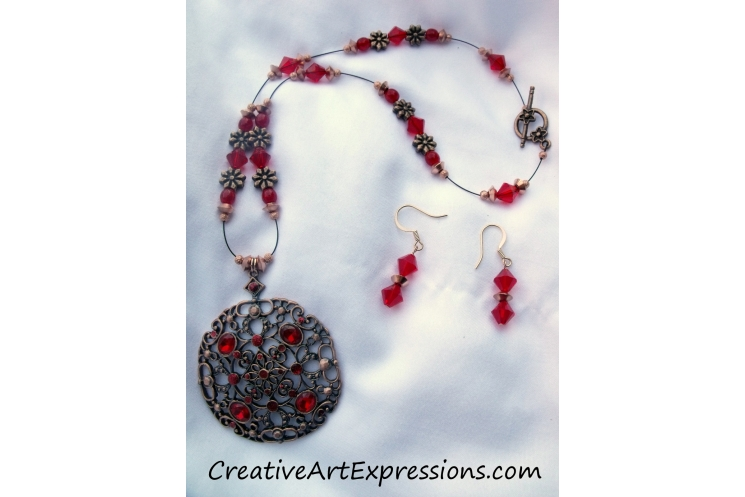 Red & Antique Copper Necklace & Earring Set Jewelry Design