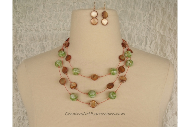 Handmade Green Brown Mother of Pearl 3 Strand Necklac