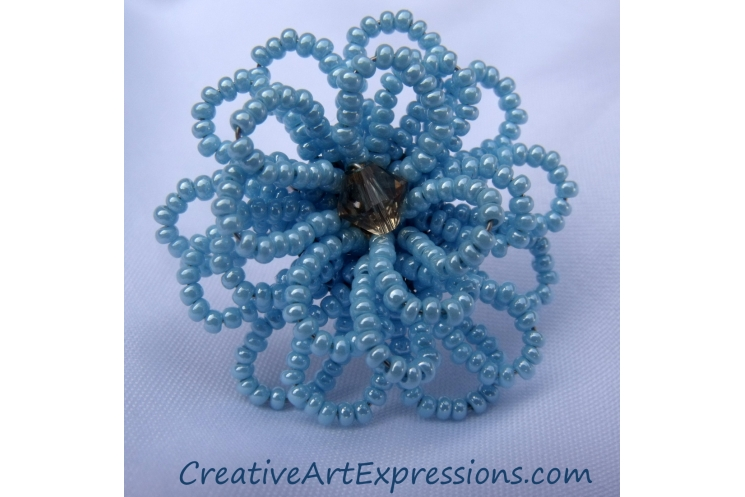 Creative Art Expressions Handmade Baby Blue Seed Bead Flower Ring Jewelry