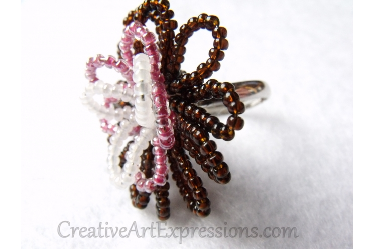 Creative Art Expressions Handmade Seed Bead Wire Wrapped Flower Ring Jewelry