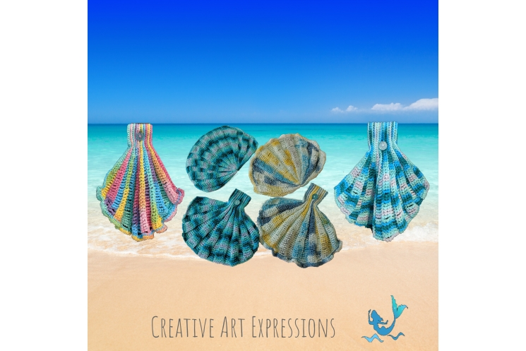 Seashell Hand Towels in Brights, Aqua Ombre, Paris in June & Aqua Ombre