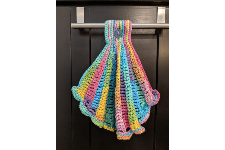 Seashell Hanging Towel with Ruffle in Brights