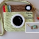 Pistache Green & Brown Camera Purse