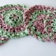 Red Pink Green Crocheted Christmas Coasters