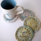 Pink Blue Yellow & Green Crocheted Coasters