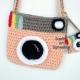 Peach & Gray Crocheted Camera Purse, Key chain & Charm