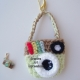 Pistache Green & Brown Key Chain Camera Purse