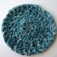 Set of 4 crocheted teal cotton coasters