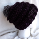 Chunky Beehive Ribbed Slouchy Hat in Galaxy with Gray Pom