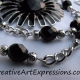 Creative Art Expressions Handmade Black & Silver Zinnia Necklace Jewelry Design
