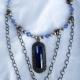 Creative Art Expressions Handmade Blue Platinum & Chain Necklace Jewelry Design