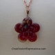 Creative Art Expressions Handmade Red & Copper Flower Necklace