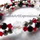 Creative Art Expressions Handmade Red Black Silver Crystal Necklace Jewelry