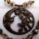 Brown Green & Brass 3 Strand Bird Necklace Jewelry