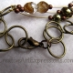 Creative Art Expressions Handmade Brown Green & Brass 3 Strand Bird Necklace Jew