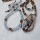 Handmade Blue & Mahogany Necklace Bracelet & Earring Je
