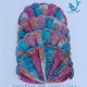 Seashell Hand Towel Set with Ruffles in Pink Teal & Orange