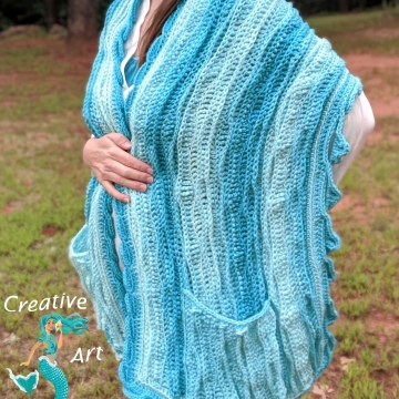 Sea Breeze Pocket Shawl Long in Aqua Seas