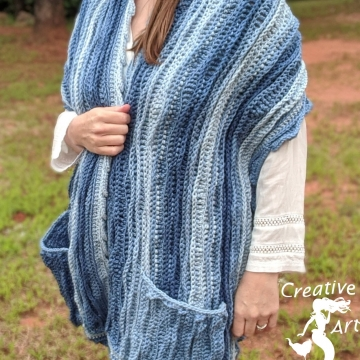 Sea Breeze Pocket Shawl Sapphire Seas