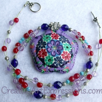 Creative Art Expressions Handmade Red Green Purple Blue Flower Beaded Necklace J