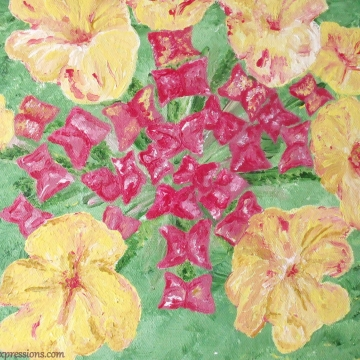 Creative Art Expressions Hand Painted Lantana In Bloom Acrylic Painting