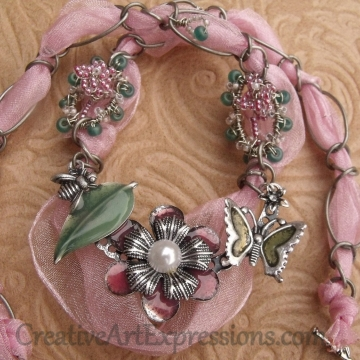 Creative Art Expressions Handmade Pink Wire Wrapped & Ribbon Necklace Jewelry