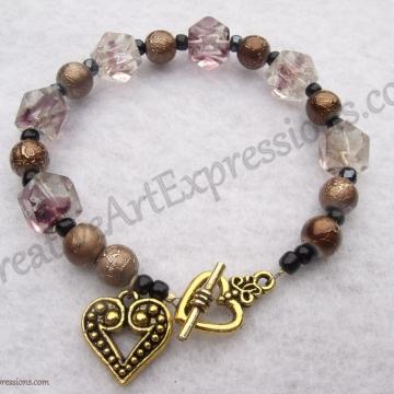 Creative Art Expressions Handmade Mahogany Blue & Gold Bracelet Jewelry