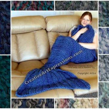 Blue Mermaid Blanket Crocheted Adult Teen