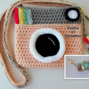 Peach & Gray Crocheted Camera Purse, Key chain & Charm
