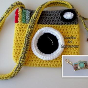 Yellow Camera Purse Crocheted