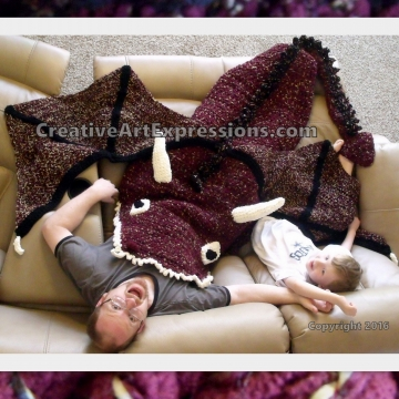 Dragon Blanket Crocheted Adult Teen Burgundy & Gold