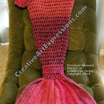 Preschool Mermaid Blanket in Wildberries Stripes