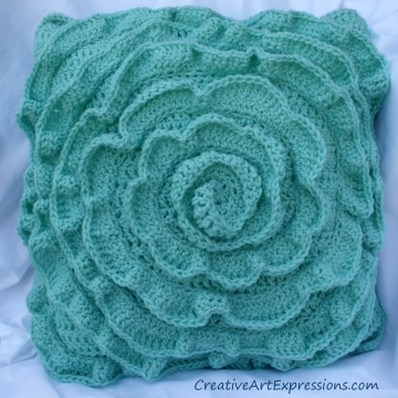 Creative Art Expressions Hand Crocheted Aquamarine Rose Pillow