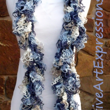 Creative Art Expressions Hand Crocheted Shades of Blue Grand Picots Scarf