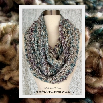 Crocheted Bulky Infinity Scarf in Tudor