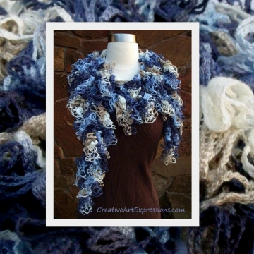Crocheted Shades of Blue Grand Picots Scarf