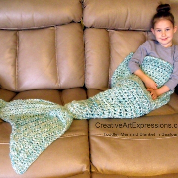 Crocheted Mermaid Blanket Toddler in Seafoam
