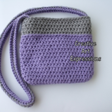 Back of Purple & Gray Camera Purse