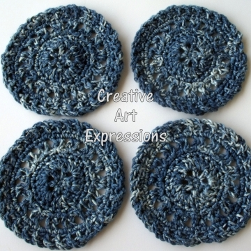 Blue Denim Crocheted Cotton Coasters