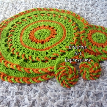 Place mat, coaster & napkin ring set in Bright Green & Orange
